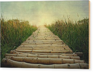 Bamboo Path In Grass At Sunrise Wood Print by Atul Tater