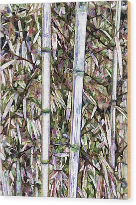Wood Print featuring the painting Bamboo Stalks by Lanjee Chee