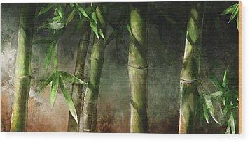 Bamboo Stalks Wood Print by Steve Goad