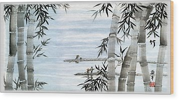 Bamboo Village Wood Print by Ping Yan