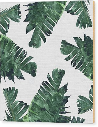 Banan Leaf Watercolor Wood Print by Uma Gokhale