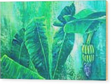 Banan Leaves 5 Wood Print by Carol P Kingsley