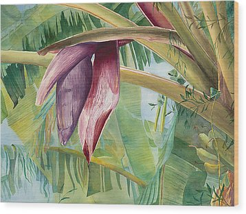 Banana Flower Wood Print by AnnaJo Vahle