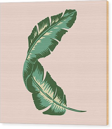 Banana Leaf Square Print Wood Print by Lauren Amelia Hughes
