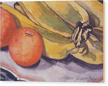 Bananas And Blood Oranges Still-life Wood Print by Caron Sloan Zuger