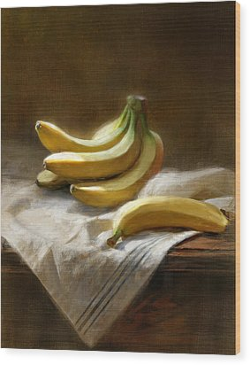 Bananas On White Wood Print