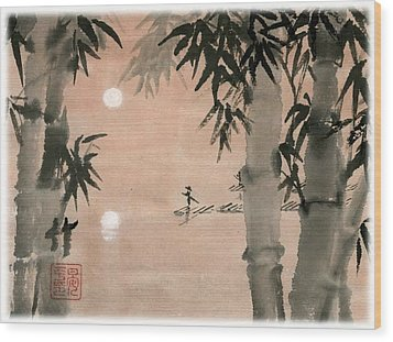 Wood Print featuring the painting Banboo Village by Ping Yan