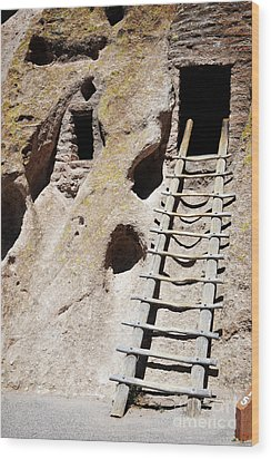 Wood Print featuring the photograph Bandelier Desert Ladder by Andrea Hazel Ihlefeld