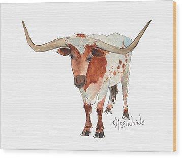 Texas Longhorn Bandero Watercolor Painting By Kmcelwaine Wood Print