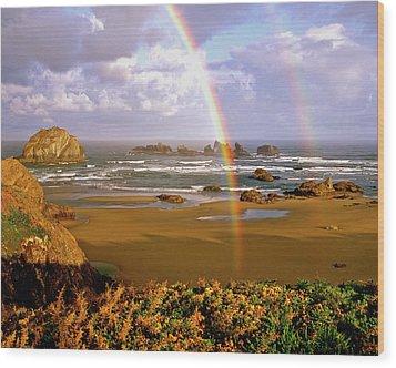 Bandon Beach Rainbow Sunrise Wood Print by Ed  Riche
