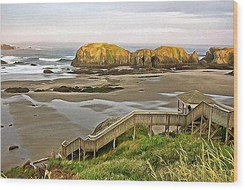 Bandon Beach Stairway Wood Print
