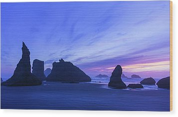 Bandon Blue Hour Wood Print