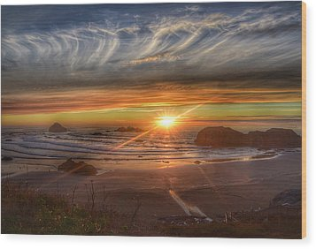 Wood Print featuring the photograph Bandon Sunset by Bonnie Bruno