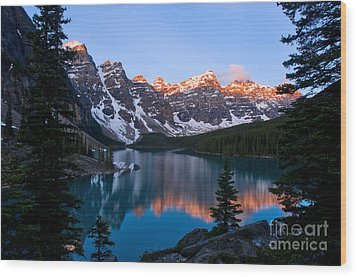Banff - Moraine Lake Sunrise Wood Print