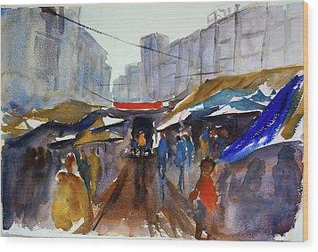 Bangkok Street Market Wood Print