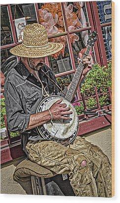 Banjo Man Orange Wood Print by Jim Thompson