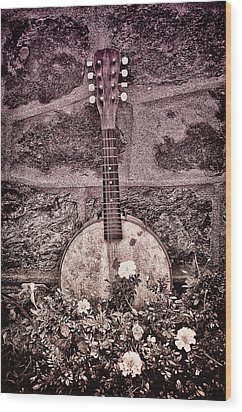 Banjo Mandolin On Garden Wall Wood Print by Bill Cannon