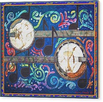 Banjos - Bordered Wood Print by Sue Duda
