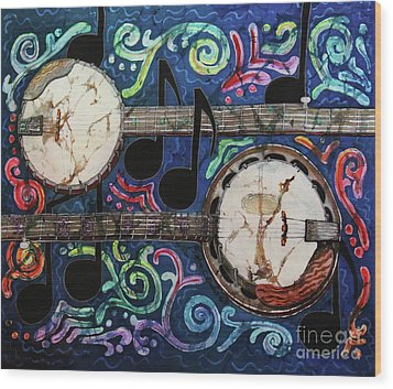 Banjos Wood Print by Sue Duda