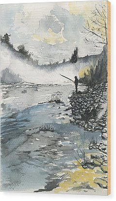 Bank Fishing Wood Print