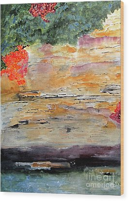 Wood Print featuring the painting Bank Of The Gauley River by Sandy McIntire