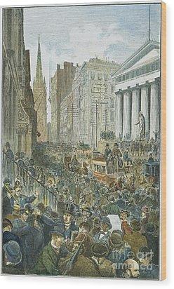 Bank Panic, 1884 Wood Print by Granger