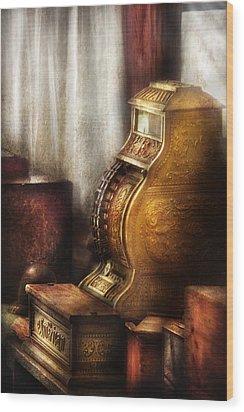 Banker - Brass Cash Register  Wood Print by Mike Savad