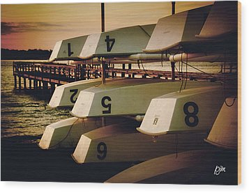 Wood Print featuring the photograph Banks Channel Boat Stack by Phil Mancuso