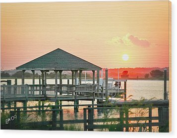 Wood Print featuring the photograph Banks Channel Sunset by Phil Mancuso