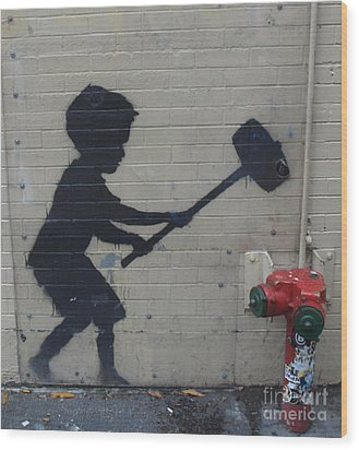 Banksy In New York Wood Print