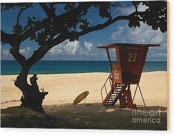 Banzai Beach Wood Print