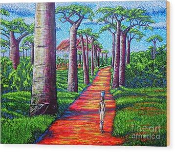 Baobab Wood Print by Viktor Lazarev