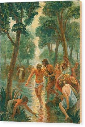 Baptism Of Christ Wood Print by Paul Rhoads