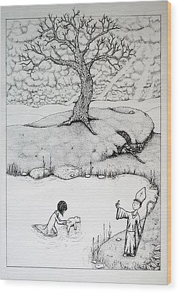 Wood Print featuring the drawing Baptism Of Ted E. Bear by Josean Rivera