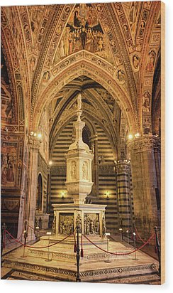 Wood Print featuring the photograph Baptistery Siena Italy by Joan Carroll