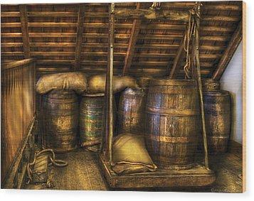 Bar - Wine Barrels Wood Print by Mike Savad