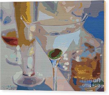 Bar Drinks Wood Print by David Lloyd Glover