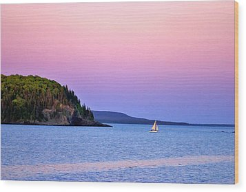 Wood Print featuring the painting Bar Harbor Sunset by Larry Darnell