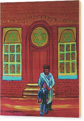 Bar Mitzvah Lesson At The Synagogue Wood Print by Carole Spandau