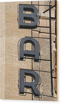 Bar. Neon Writing Wood Print by Bernard Jaubert