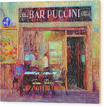 Bar Puccini Lucca Italy Wood Print by Wally Hampton