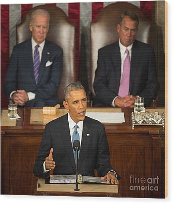 Barack Obama 2015 Sotu Address Wood Print by Science Source