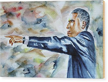 Barack Obama Commander In Chief Wood Print by Brian Degnon