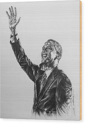 Barack Obama Wood Print by Darryl Matthews