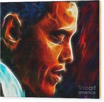 Barack Obama Wood Print by Pamela Johnson