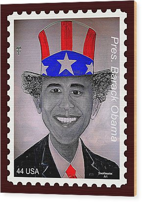 Barack Obama Postage Stamp Wood Print by Teodoro De La Santa