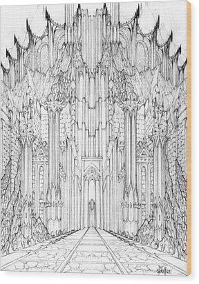 Barad-dur Gate Study Wood Print by Curtiss Shaffer