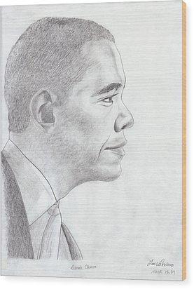 Barak Obama Wood Print by M Valeriano