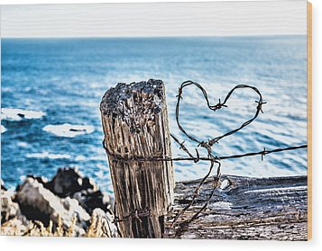 Barb Wire Heart Wood Print