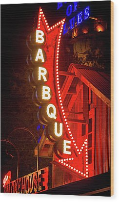 Wood Print featuring the photograph Barbeque Smokehouse by Mark Andrew Thomas